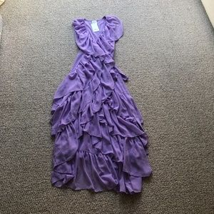 Misa Los Angeles Purple Ruffle Maxi Dress Medium